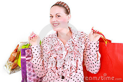 Woman with purchases