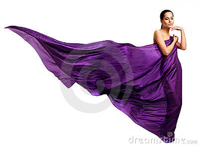 Woman in purple long dress