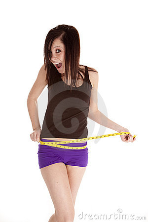 Woman purple shorts measure waist happy