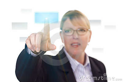 Woman Pushing an Interactive Touch Screen Button