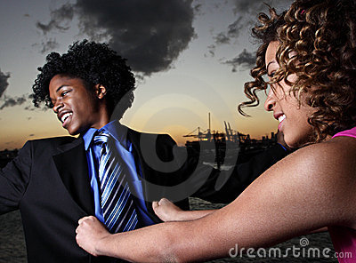 Woman pushing a man