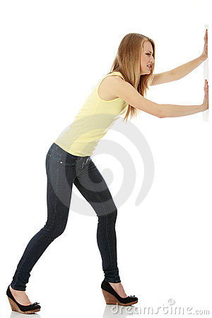 Woman pushing something