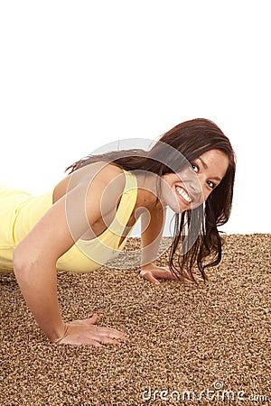 Woman pushup close smile