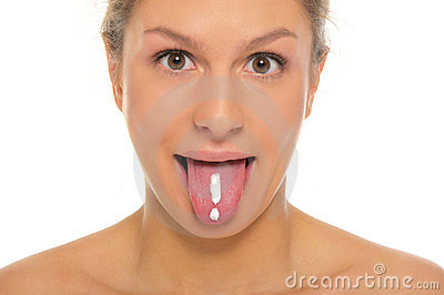 Woman puts out tongue with drawn exclamation mark
