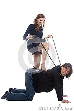 Woman Putting Leg On Man In Jacket Stock Photo - Image ...
