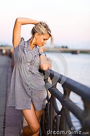 Woman  on a quay.
