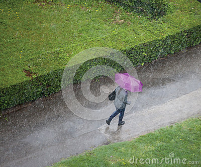 Woman in the rain
