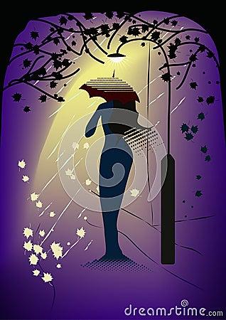 Woman-in-rain mirage