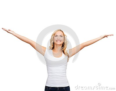 Woman with raised hands in blank white t-shirt