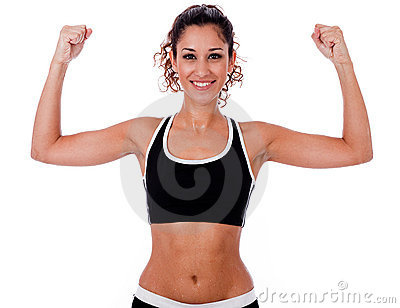 Woman raising her hands doing exercises