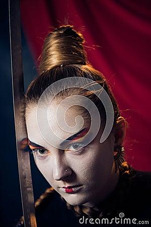 Woman with razor