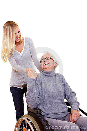Woman reaching out to handicapped