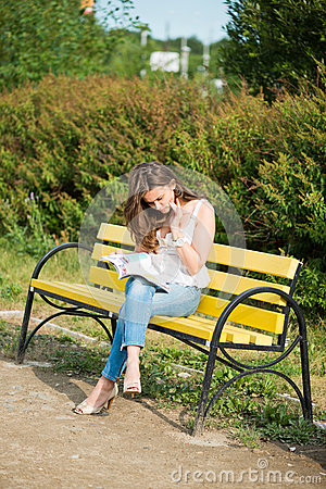 Woman read a magazin