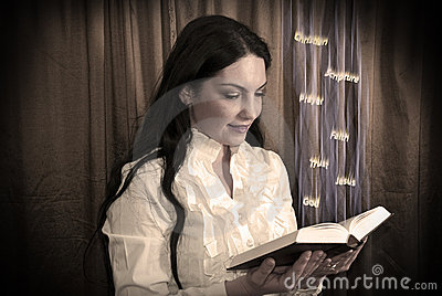 Woman Reading A Bible Royalty Free Stock Photography - Image: 13637097