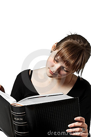 Woman reading big book