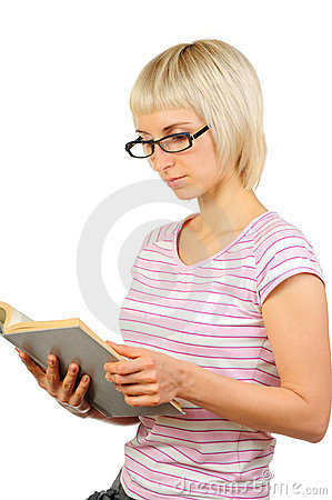 Woman reading book isolated on white