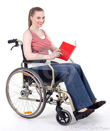 Woman reading book on the wheelchair