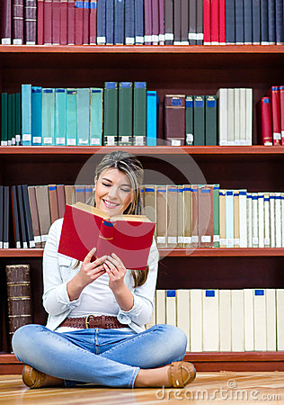 Woman reading at the library