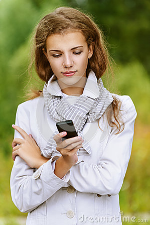 Woman reading message on your