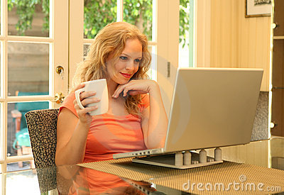 Woman Reading Online