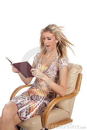 Woman reading very excited