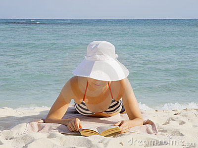 Woman reads the book
