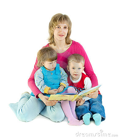 The woman reads the book to children