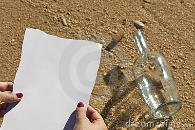 Woman reads a message from a bottle (Write text)