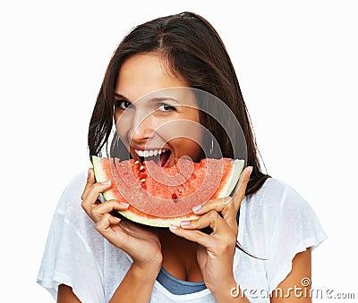 Woman ready to take a bite out of watermelon
