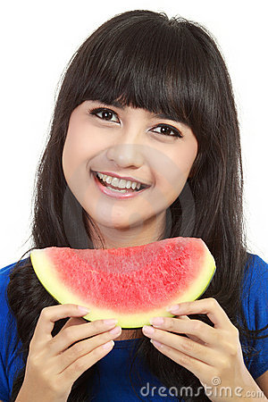 Woman ready to take a bite out of watermelon