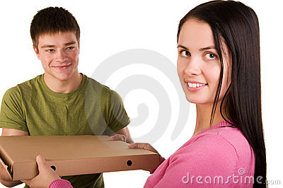 Woman receive for a package