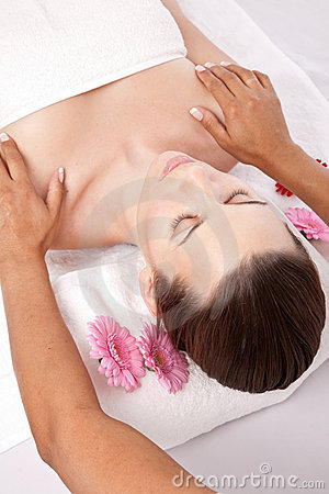 Woman receiving a beauty massage