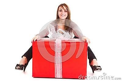 Woman receiving big gift
