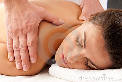 Woman receiving massage relax treatment close-up