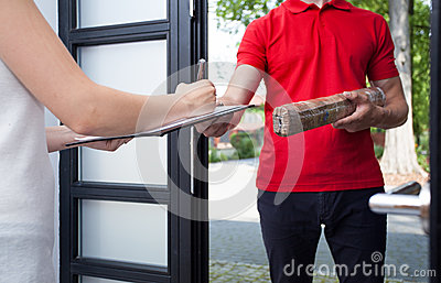 Ups Delivery Woman Woman Receiving...