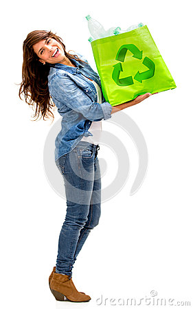 Woman with a recycle bag