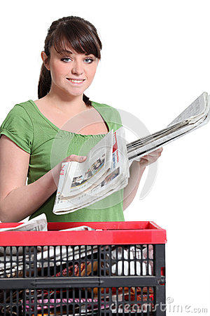 Free Woman Recycling Newspapers Royalty Free Stock Photo - 30339255