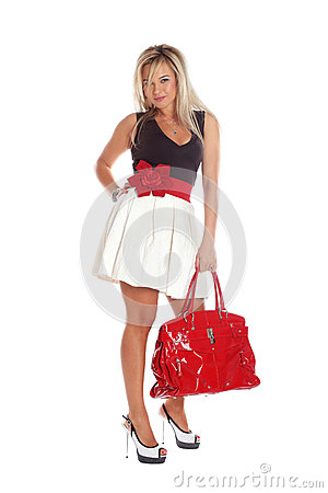 Woman with red bag isolated on white