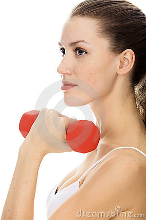 Woman with red barbell