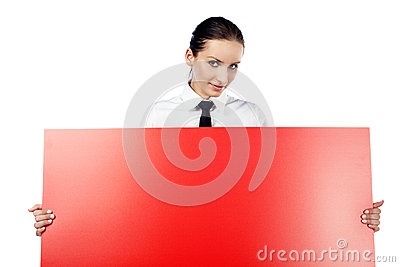 Woman with red billboard