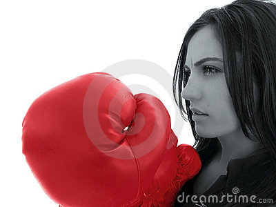 Woman with red boxing glove