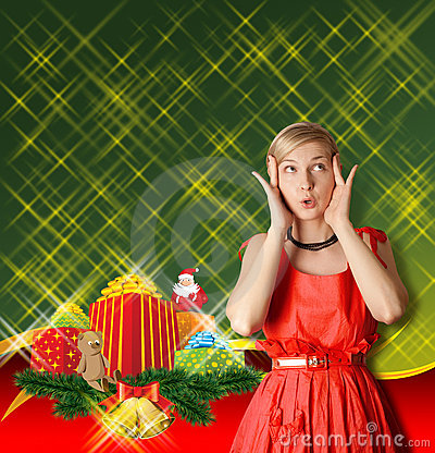 Woman In Red With Christmas Gifts