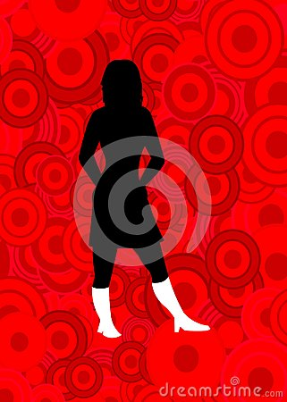 Woman on red circles