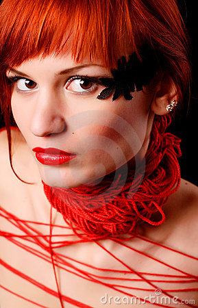 Woman with red clew