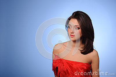 Woman in red clothing