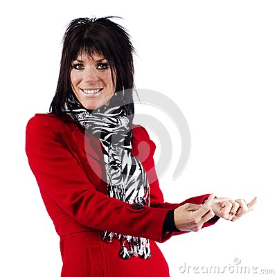 Woman in red coat gesturing