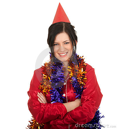 Woman in red cone hat and Christmas chains
