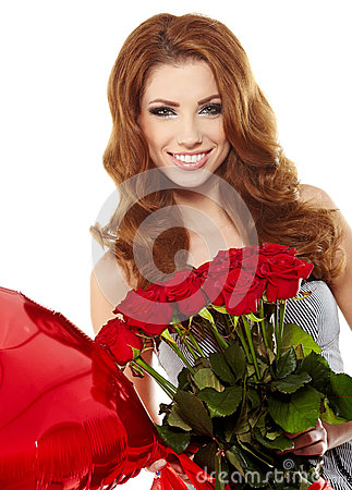woman in red drapery with red roses