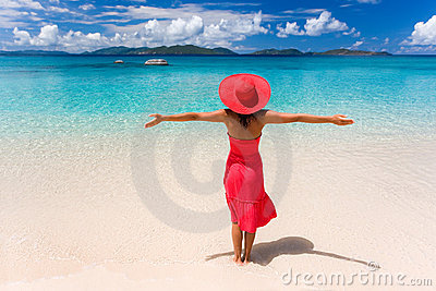 Woman red dress beach