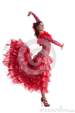 Woman in red dress performing flamenco